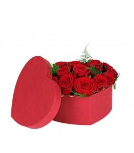 Boite Coeur 20x25xH10cm Rouge