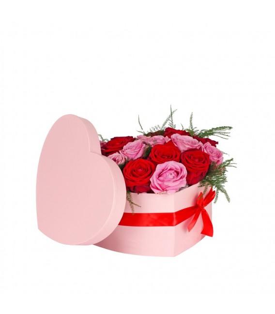 Boite Coeur 15x19xH10cm Rose+noeud