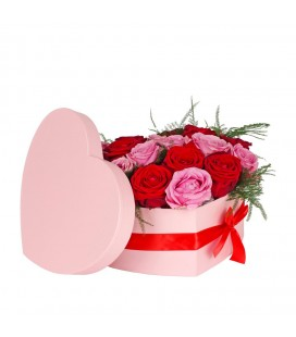 Boite Coeur 20x25xH10cm Rose+noeud