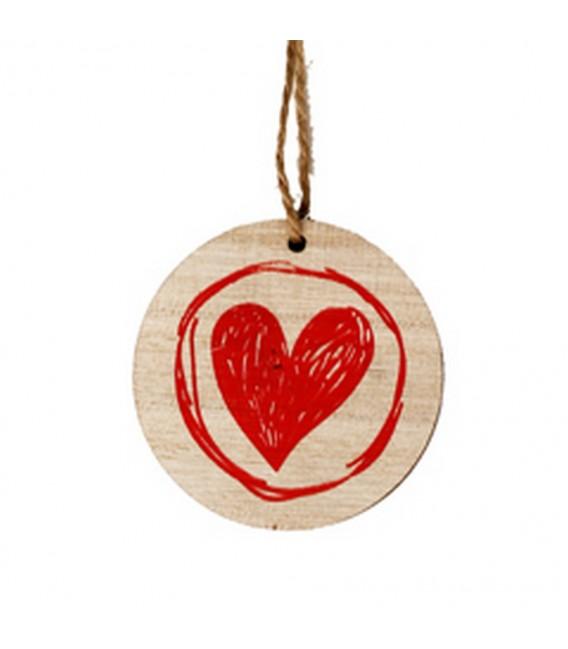 Deco coeur bois rouge  5.5 cm x24 p