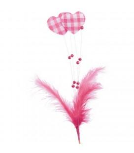 Pics Coeurs+plume Rose +15 cm x24 p