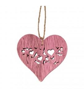Pendentif Coeur bois rose 7x7.5x24