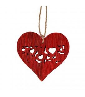Pendentif bois coeu rouge 7 cm X 24