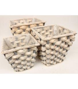 Pot carré tressé gris /bl 37x37 h35