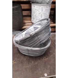 Panier oval gris 33x26 H 13