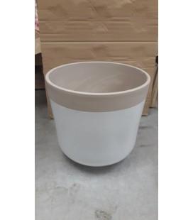 Cache Pot Blanc Taupe Ø22