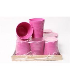 Lot de 9 Pots Céramique Rose Foncé