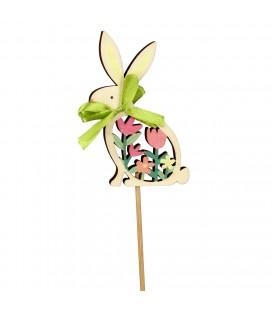 Pics Lapin fleur bois 10+50cm X25