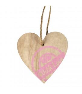 Deco coeur bois timbre 7x7 cm X24 p
