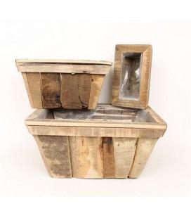 Cache pot rectangle bois 35X23H19
