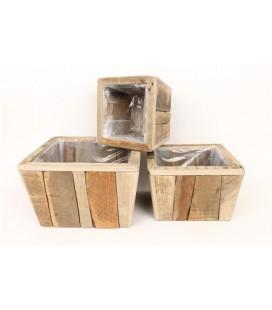 Cache pot carré bois 33 H 20.5