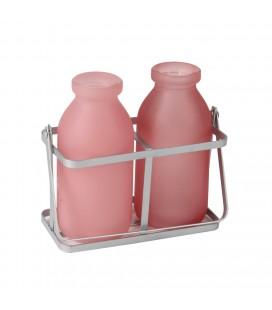 Contenant 2 bouteilles rose