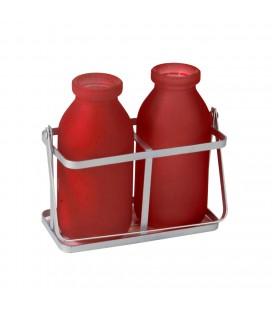 Contenant 2 bouteilles rouge