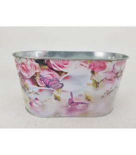 Jardiniere Oval  rose+papil L 22