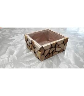 Contenant carré bois 22x22x10